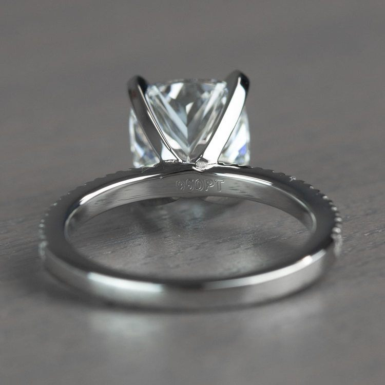 Timeless 2 Carat Cushion Cut Pave Engagement Ring angle 4
