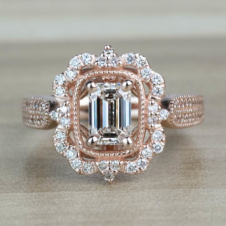 TOP SELLING: Antique Halo Emerald Diamond Engagement Ring