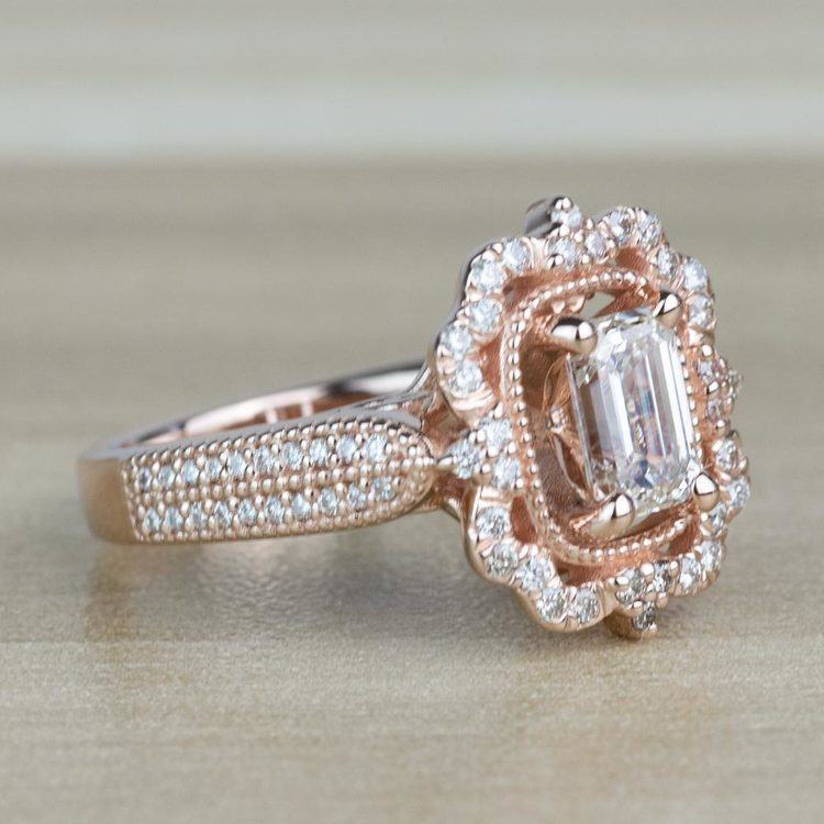 TOP SELLING: Antique Halo Emerald Diamond Engagement Ring  angle 3
