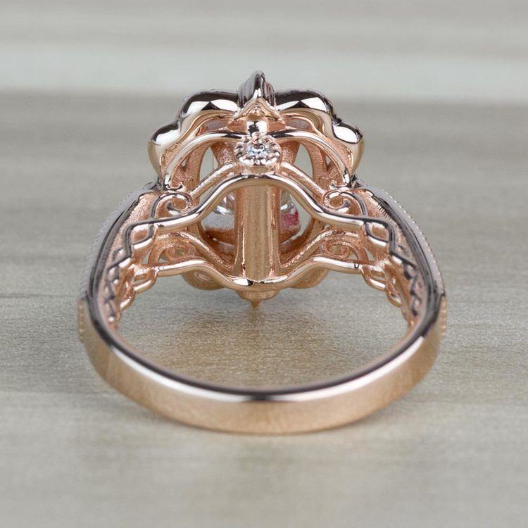 TOP SELLING: Antique Halo Emerald Diamond Engagement Ring  angle 4