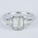 Emerald Diamond Engagement Ring with Trapezoid Diamonds (1.53 Carat) - small