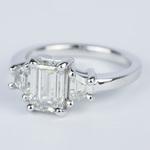 Emerald Diamond Engagement Ring with Trapezoid Diamonds (1.53 Carat) - small angle 2