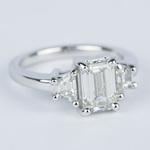 Emerald Diamond Engagement Ring with Trapezoid Diamonds (1.53 Carat) - small angle 3