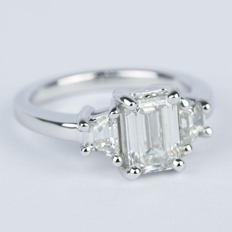Emerald Diamond Engagement Ring with Trapezoid Diamonds (1.53 Carat) angle 3