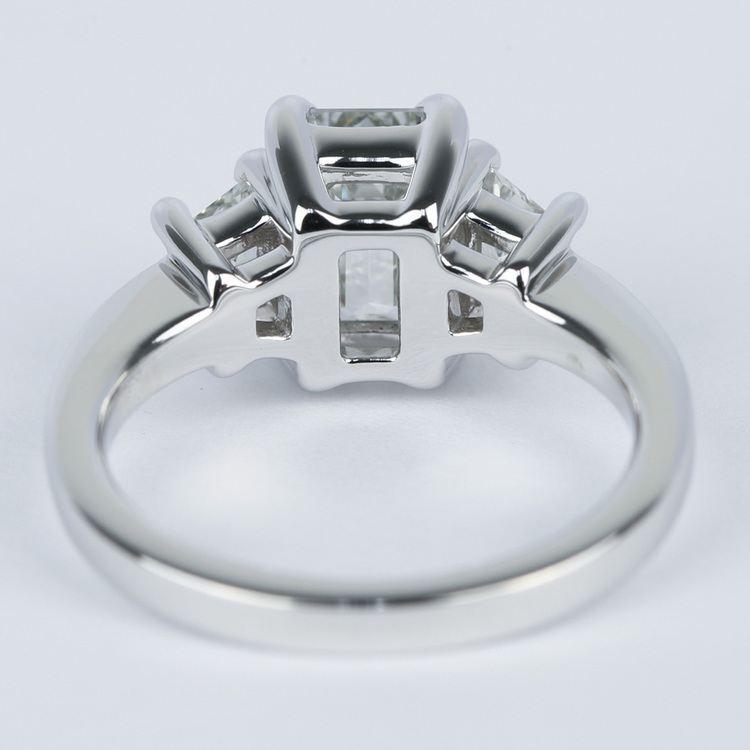 Emerald Diamond Engagement Ring with Trapezoid Diamonds (1.53 Carat) angle 4