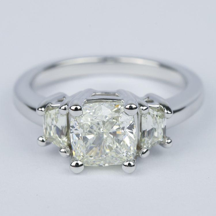 Three-Stone Trapezoid Engagement Ring with Cushion Diamond