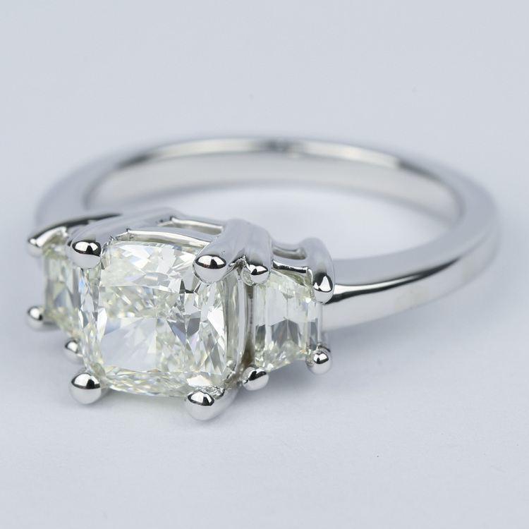 Three-Stone Trapezoid Engagement Ring with Cushion Diamond angle 2