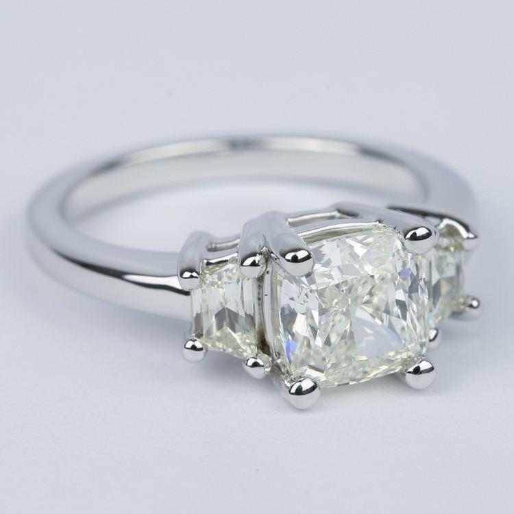 Three-Stone Trapezoid Engagement Ring with Cushion Diamond angle 3