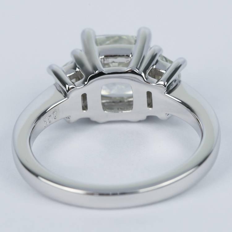 Three-Stone Trapezoid Engagement Ring with Cushion Diamond angle 4