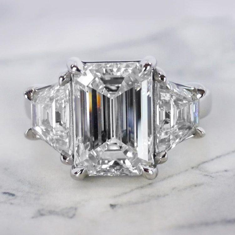 Trapezoid & Emerald Cut Diamond Three Stone Engagement Ring