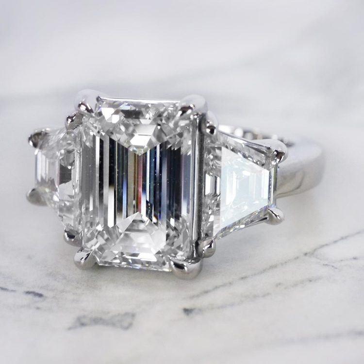 Trapezoid & Emerald Cut Diamond Three Stone Engagement Ring angle 2