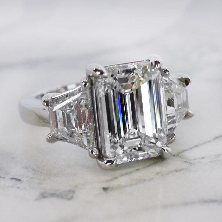 Trapezoid & Emerald Cut Diamond Three Stone Engagement Ring angle 3