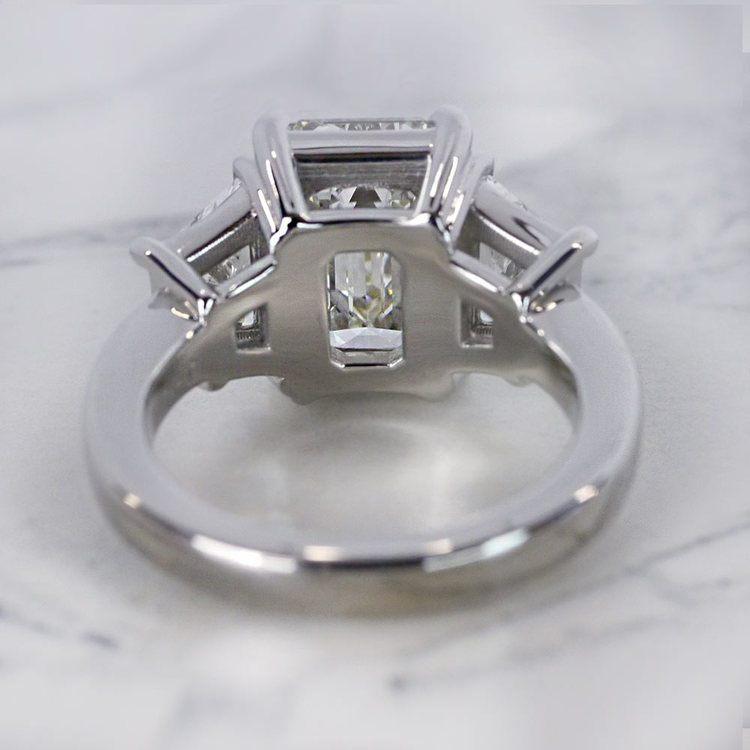 Trapezoid & Emerald Cut Diamond Three Stone Engagement Ring angle 4