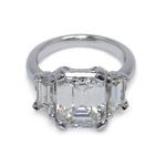Emerald & Trapezoid Triple Diamond Engagement Ring (2 Carat) - small