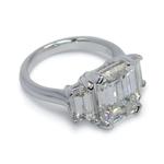 Emerald & Trapezoid Triple Diamond Engagement Ring (2 Carat) - small angle 2
