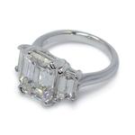 Emerald & Trapezoid Triple Diamond Engagement Ring (2 Carat) - small angle 3