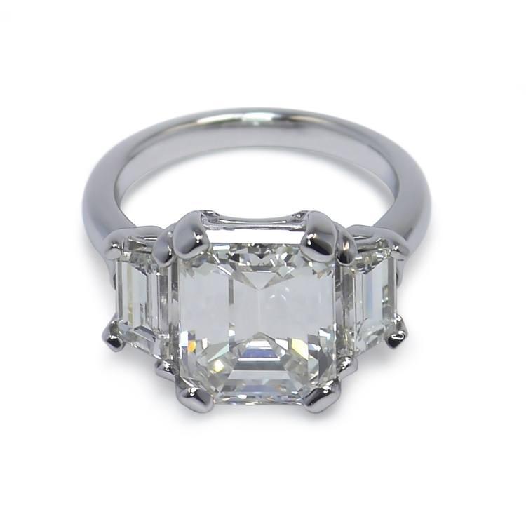 Emerald & Trapezoid Triple Diamond Engagement Ring (2 Carat)
