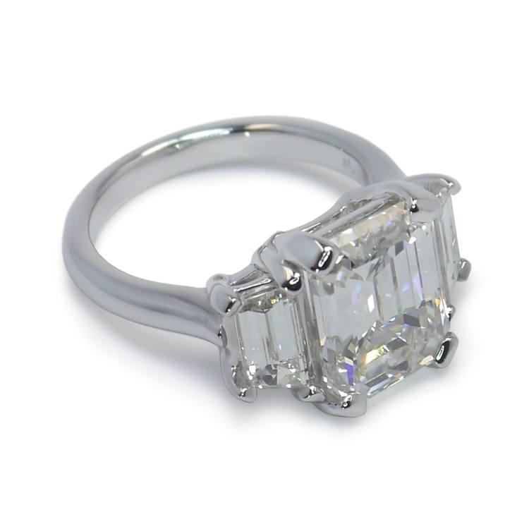Emerald & Trapezoid Triple Diamond Engagement Ring (2 Carat) angle 2