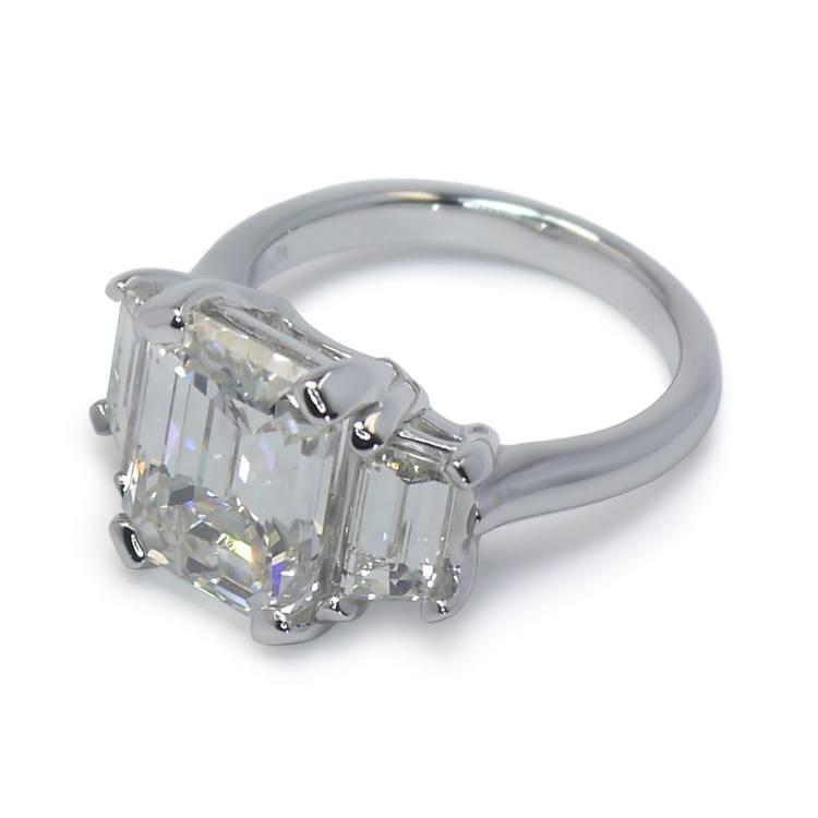 Emerald & Trapezoid Triple Diamond Engagement Ring (2 Carat) angle 3