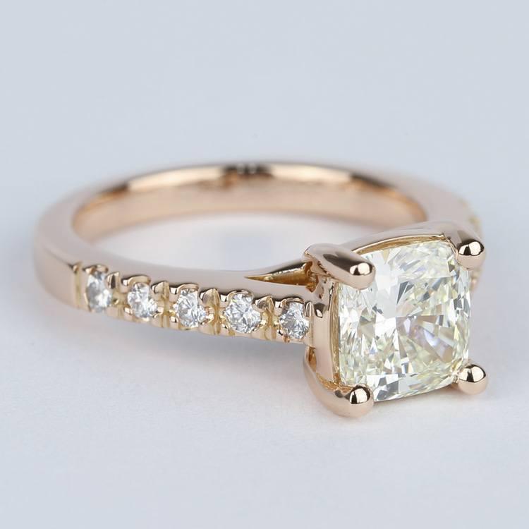 Rose Gold Trellis Engagement Ring with Cushion Diamond angle 3