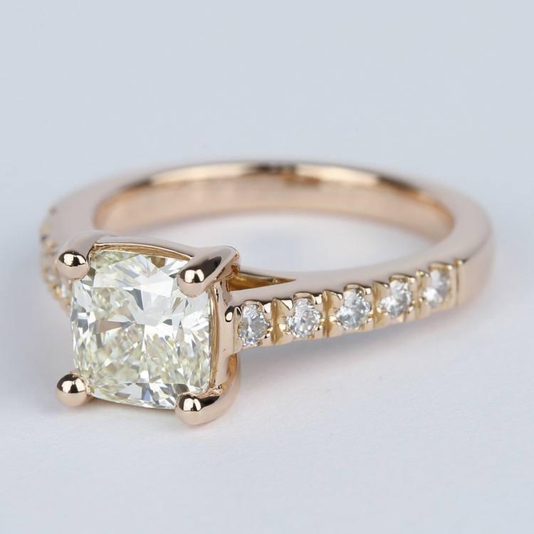 Rose Gold Trellis Engagement Ring with Cushion Diamond angle 2