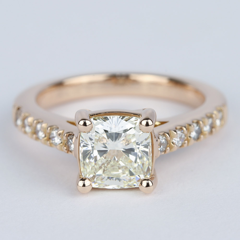 Rose Gold Trellis Engagement Ring With Cushion Diamond