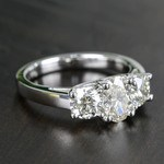 Oval & Round Three Diamond Engagement Ring (2 Carat) - small angle 3