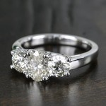 Oval & Round Three Diamond Engagement Ring (2 Carat) - small angle 2