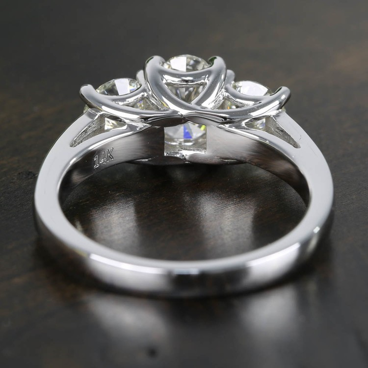 Oval & Round Three Diamond Engagement Ring (2 Carat) angle 4