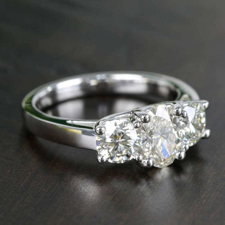 Oval & Round Three Diamond Engagement Ring (2 Carat) angle 3