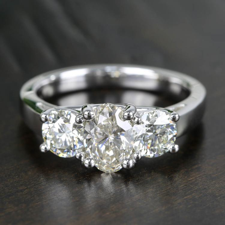 Oval & Round Three Diamond Engagement Ring (2 Carat)