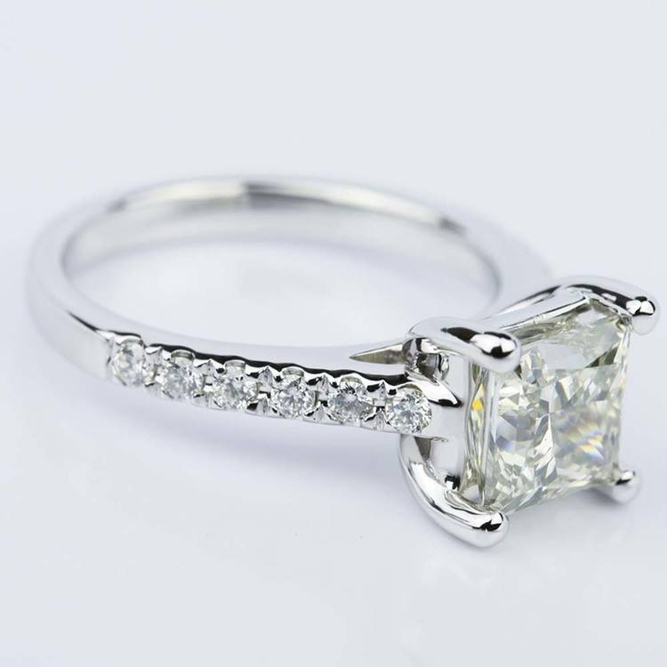 Trellis 2.01 Carat Princess Diamond Engagement Ring in White Gold angle 3
