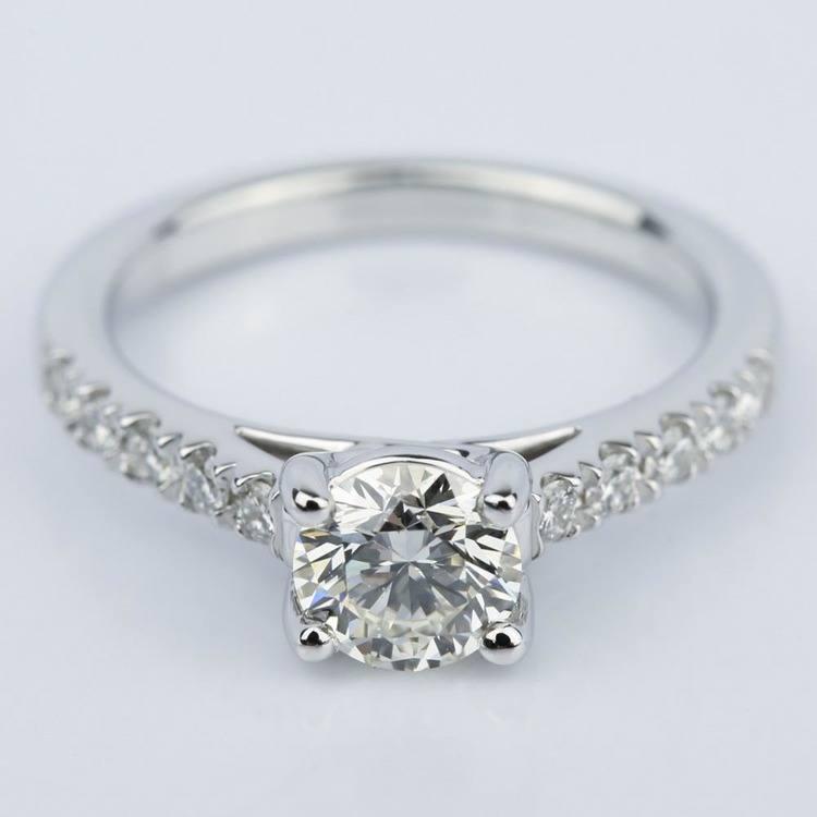 Trellis Diamond Engagement Ring in White Gold (0.84 ct.)