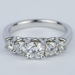Trellis Five Diamond Engagement Ring in 18K White Gold (0.57 ct.) - small