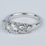 Trellis Five Diamond Engagement Ring in 18K White Gold (0.57 ct.) - small angle 2