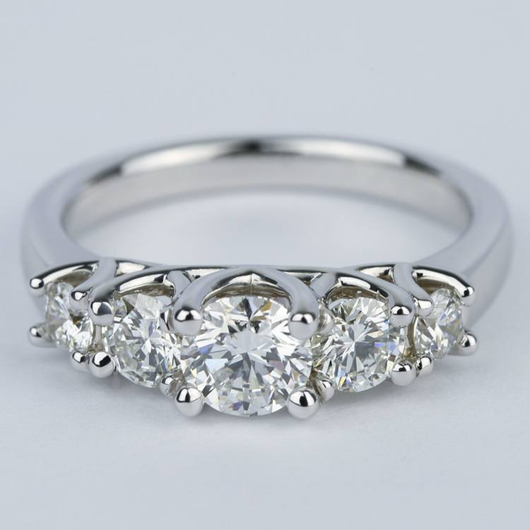 Trellis Five Diamond Engagement Ring in 18K White Gold (0.57 ct.)