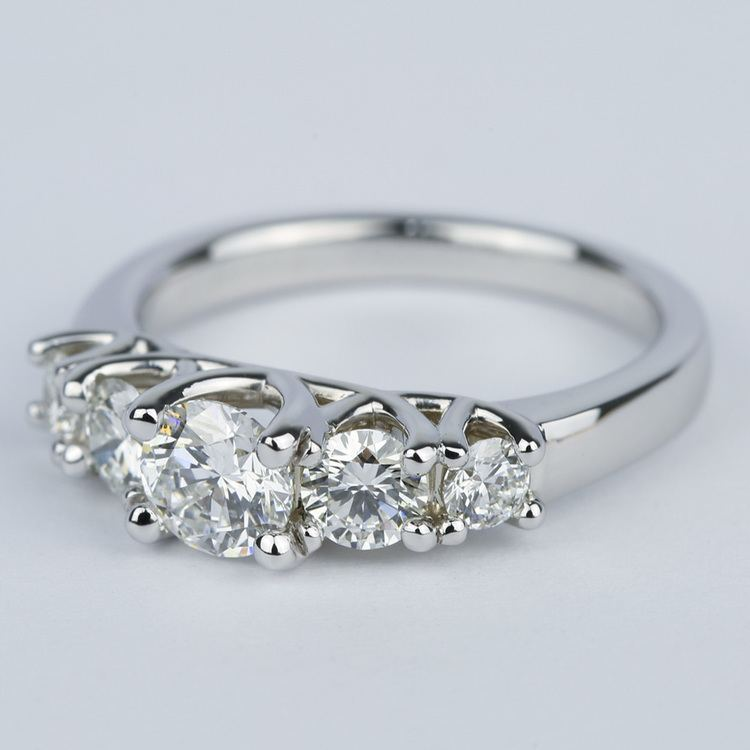 Trellis Five Diamond Engagement Ring in 18K White Gold (0.57 ct.) angle 2