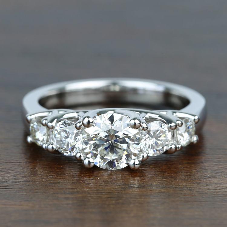 Five Diamond Trellis Engagement Ring with 1 Carat Center Diamond