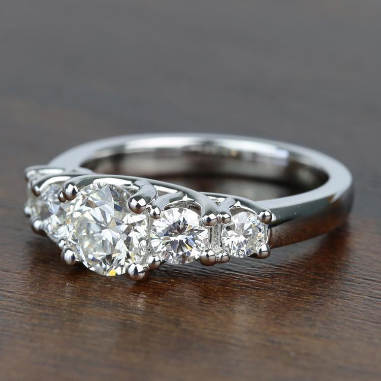 Five Diamond Trellis Engagement Ring with 1 Carat Center Diamond angle 2