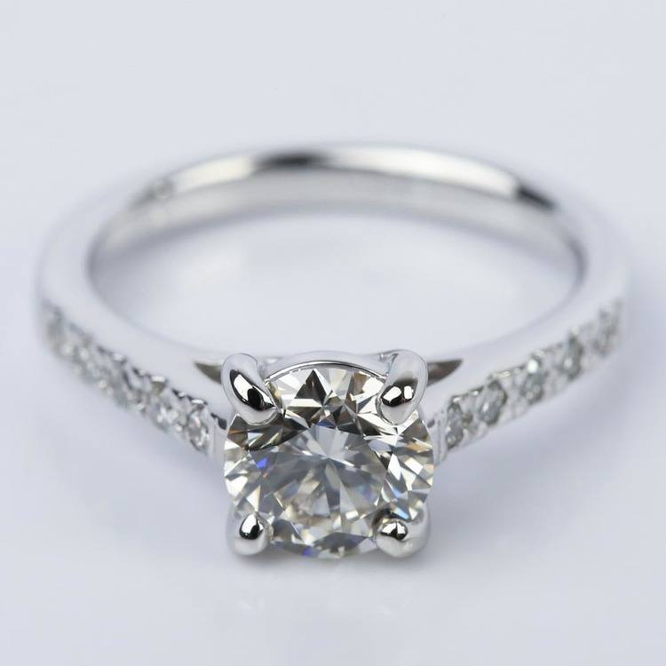 Trellis Round Diamond Engagement Ring in White Gold (1.54 ct.)
