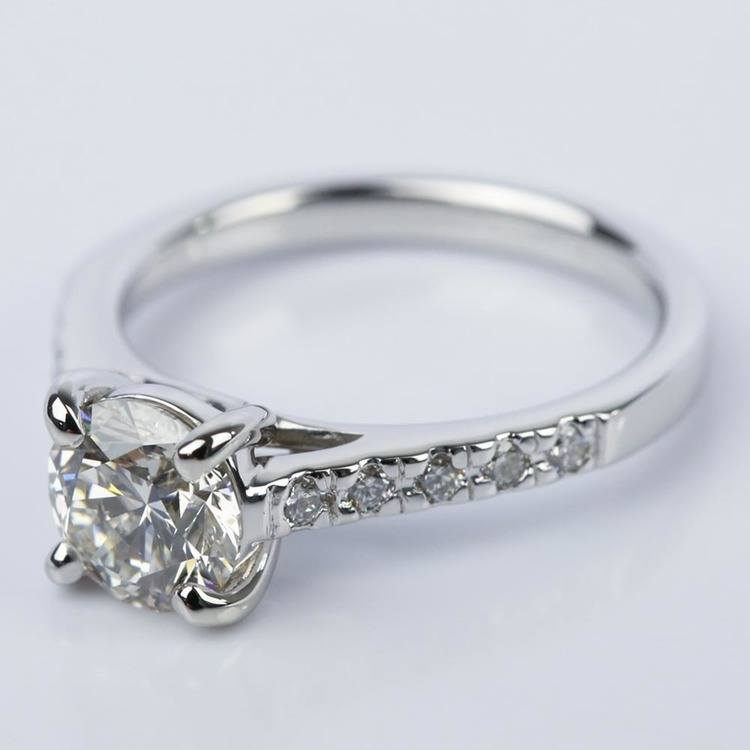 Trellis Round Diamond Engagement Ring in White Gold (1.54 ct.) angle 2