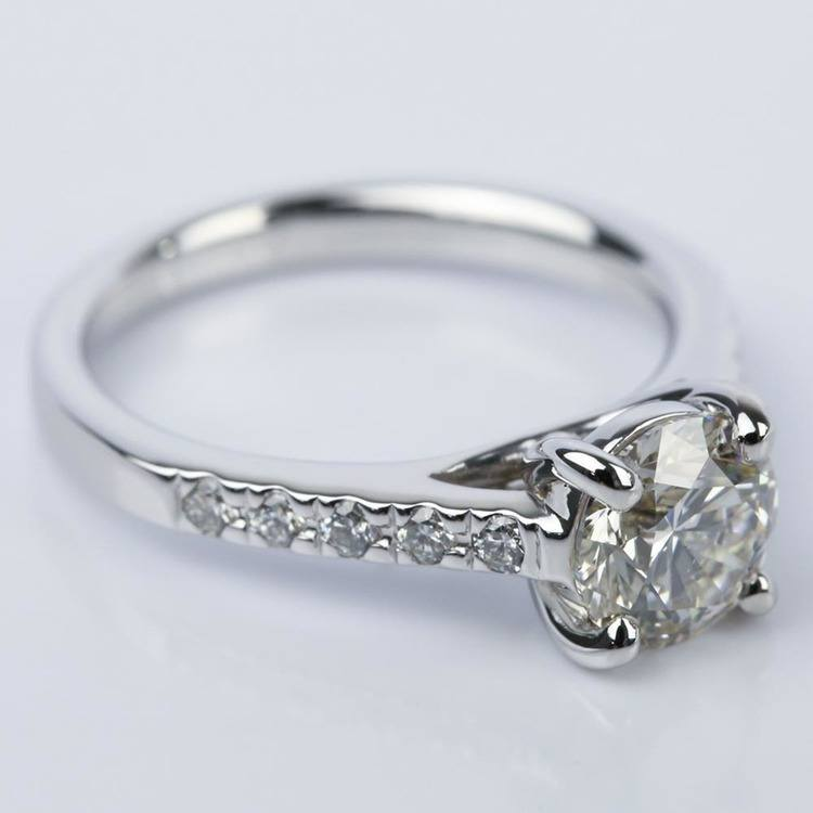 Trellis Round Diamond Engagement Ring in White Gold (1.54 ct.) angle 3