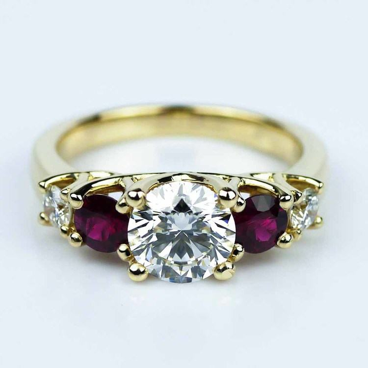 Trellis Ruby & Diamond Engagement Ring in Yellow Gold (1.19 ct.)