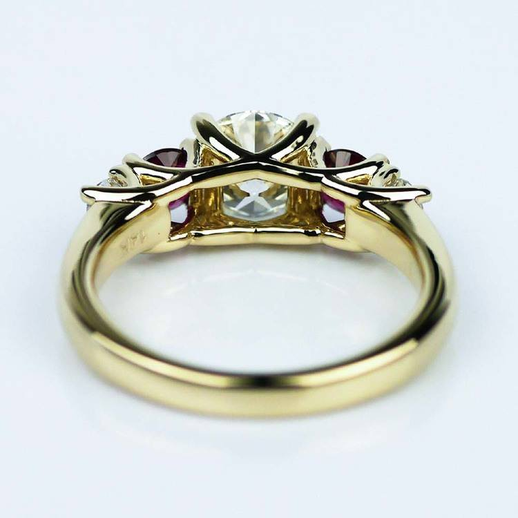 Trellis Ruby & Diamond Engagement Ring in Yellow Gold (1.19 ct.) angle 4