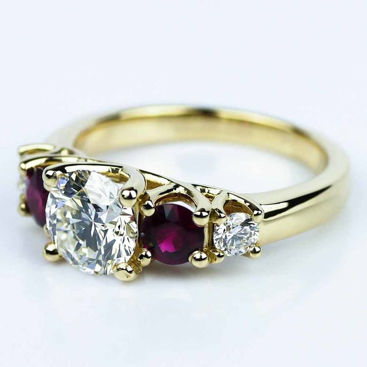 Trellis Ruby & Diamond Engagement Ring in Yellow Gold (1.19 ct.) angle 2