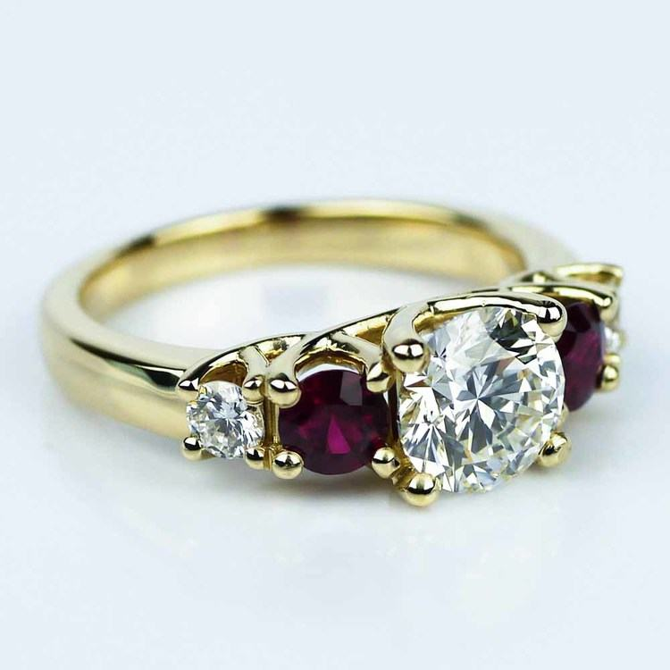 Trellis Ruby & Diamond Engagement Ring in Yellow Gold (1.19 ct.) angle 3