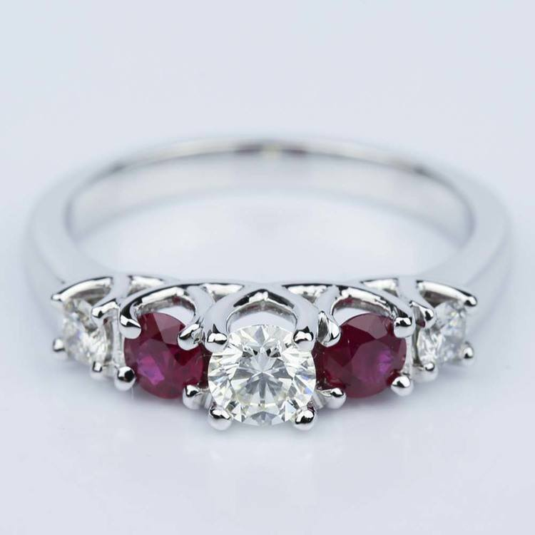 Trellis Ruby & Diamond Gemstone Engagement Ring in White Gold (0.33 ct.)
