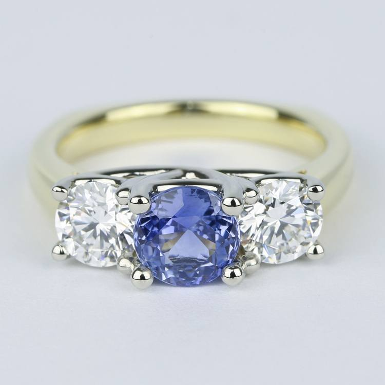 Trellis Diamond Engagement Ring with Sapphire Center Stone