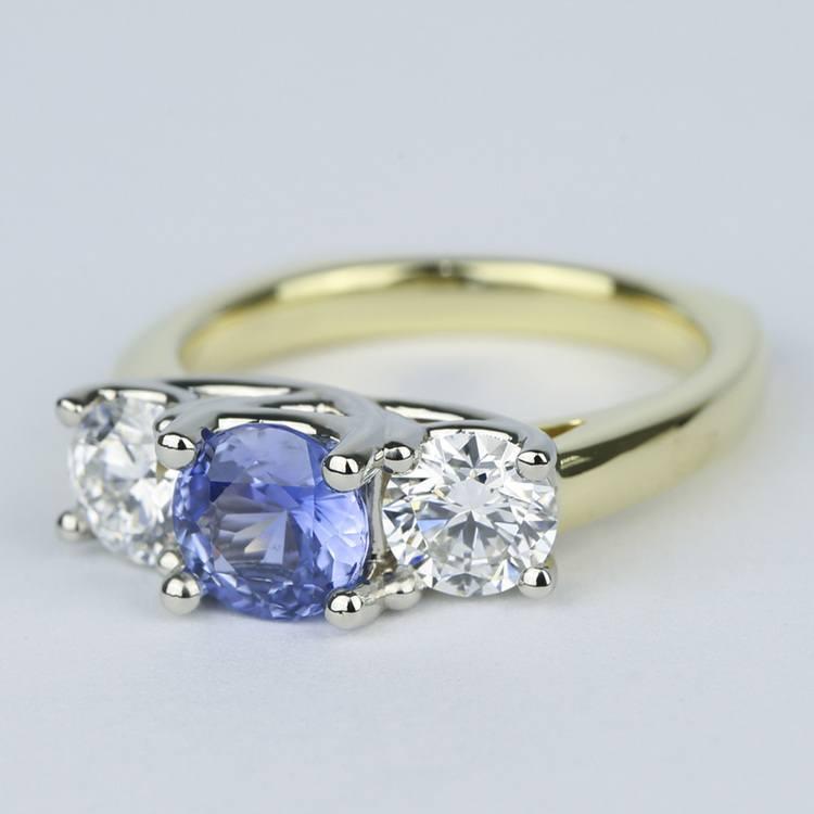 Trellis Diamond Engagement Ring with Sapphire Center Stone angle 2