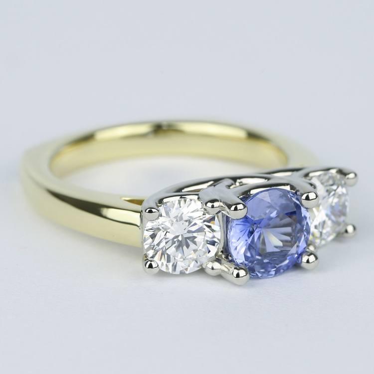 Trellis Diamond Engagement Ring with Sapphire Center Stone angle 3
